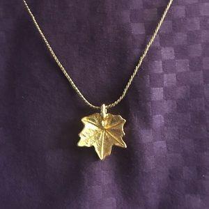 Crown Trifari Gold Maple Leaf Necklace